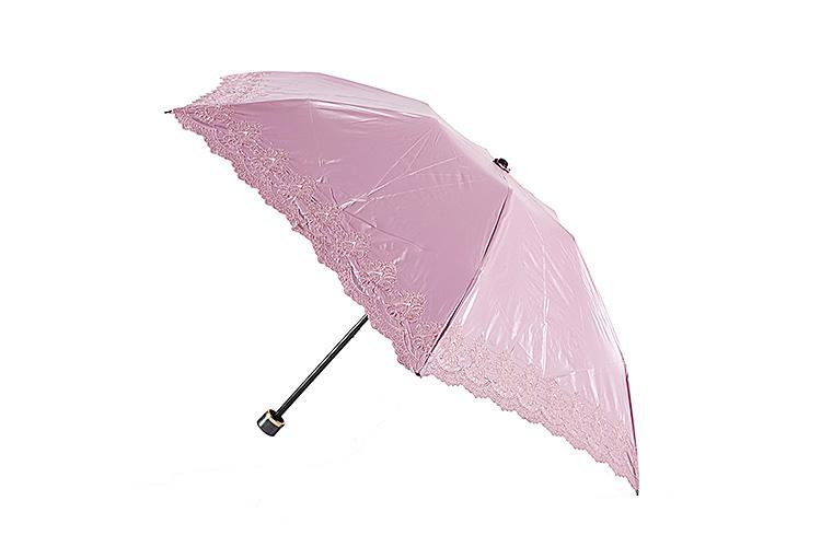 粉红色蕾丝花边防紫外线女士折叠伞