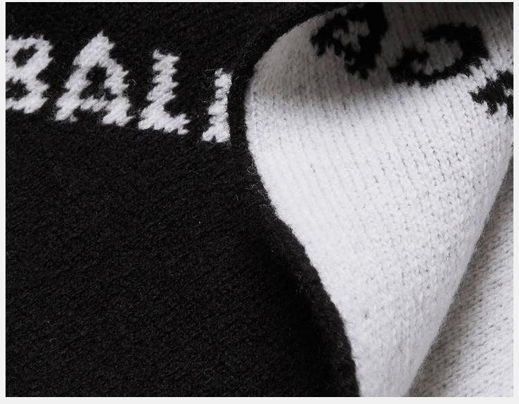 balenciaga 巴黎世家 男士黑色logo印花羊毛围巾黑色图片