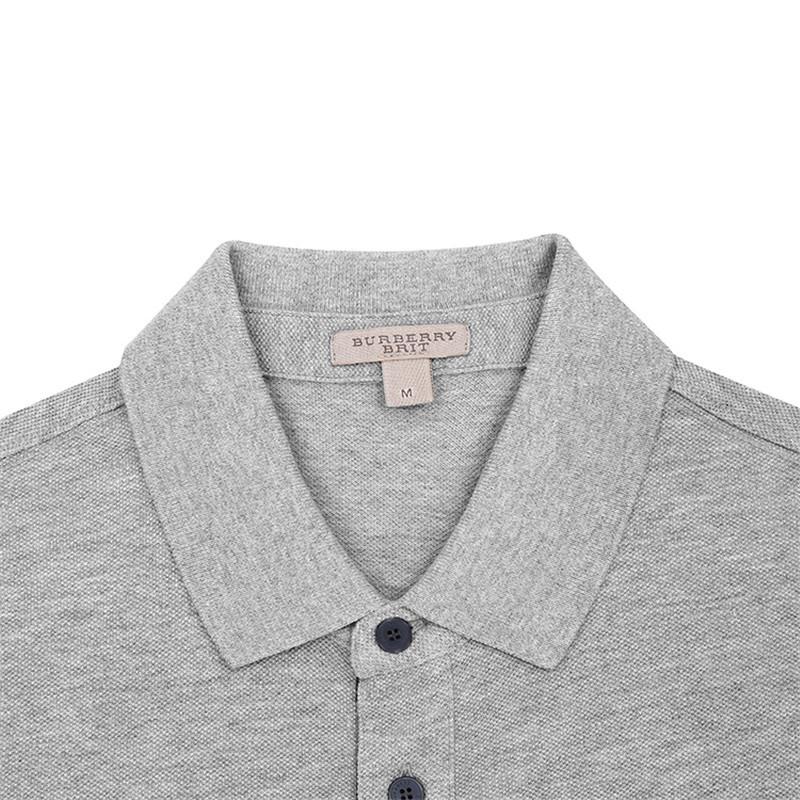 burberry/博柏利 男士烟灰色格纹开襟珠地网眼布棉质polot恤
