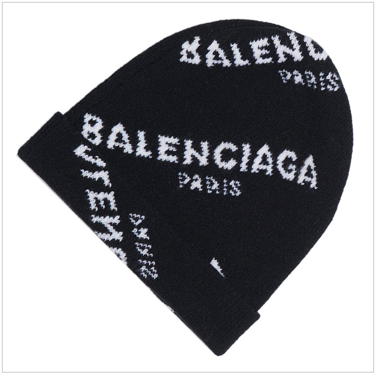 balenciaga 巴黎世家 男士黑色羊毛logo印花帽子图片