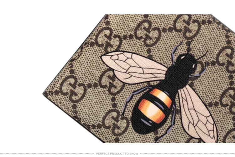 gucci/古驰 男士米色/乌木色人造革蜜蜂印花钱包 451268 k5v1n 8666-0