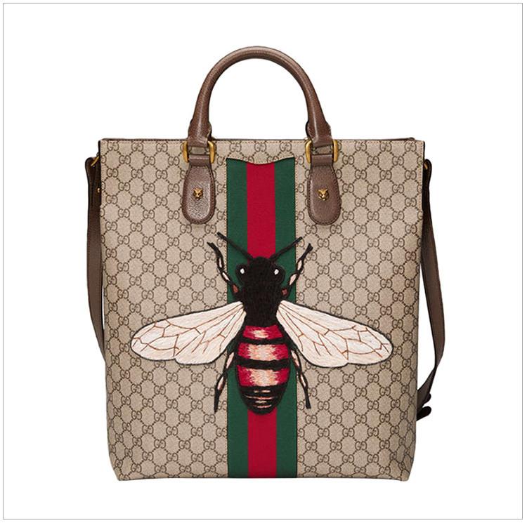 gucci 古驰 新款男士蜜蜂图案手提单肩包图片