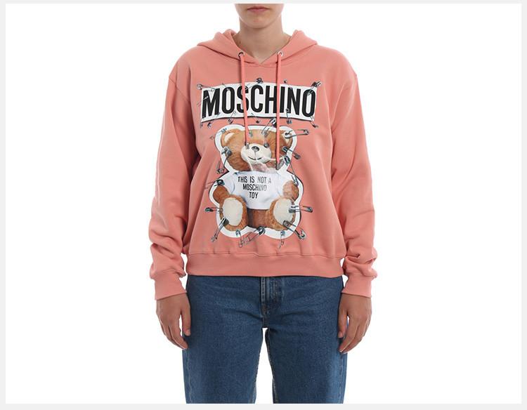 MOSCHINO/莫斯奇诺 秋冬新款 女装 服饰 棉质别针泰迪熊套头连帽长袖时尚休闲 女卫衣
