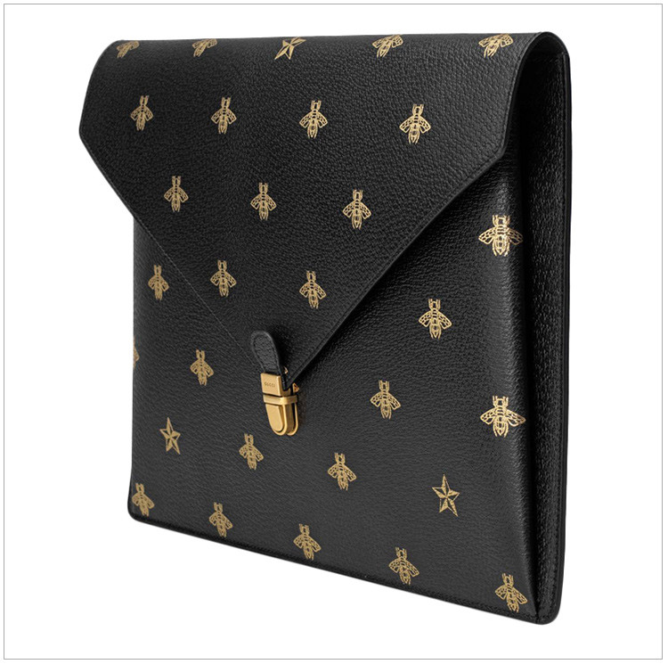 gucci古驰金色星星男士青蛙印花蜜蜂黑色公文包手拿包一亩地投多少牛皮卵图片