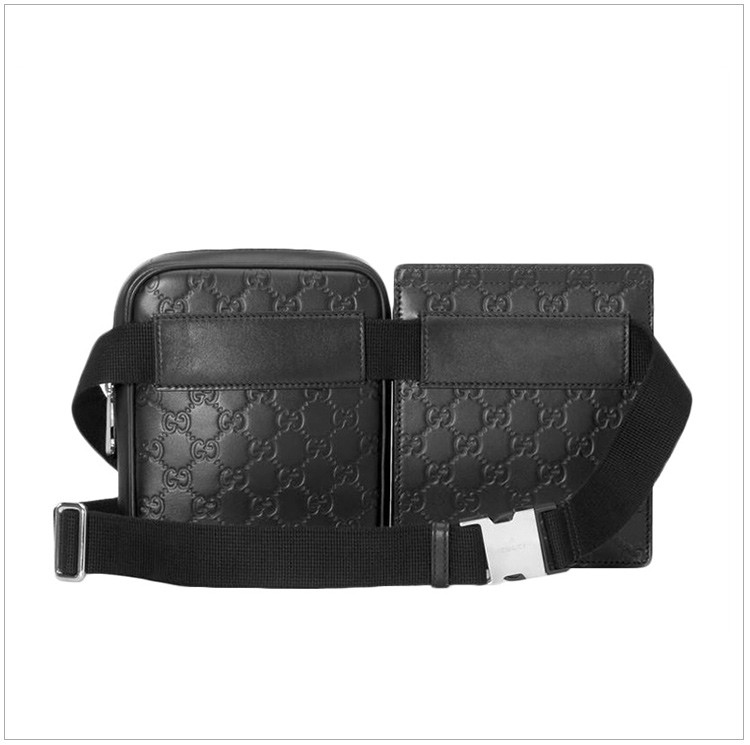 gucci/古驰 男士signature软皮黑色gg印花腰包胸包两用包(两包可移动)图片