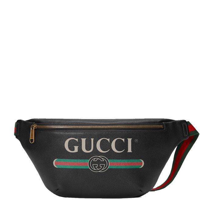 gucci/古驰 中性款式黑色牛皮gucci印花腰包 胸前斜挎包 493869图片