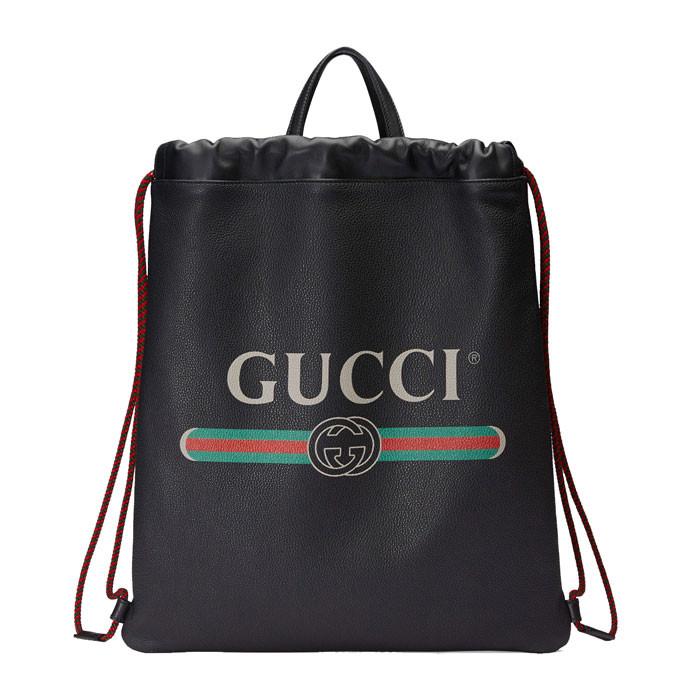 gucci(古馳) gucci標識印花皮革抽繩背包圖片