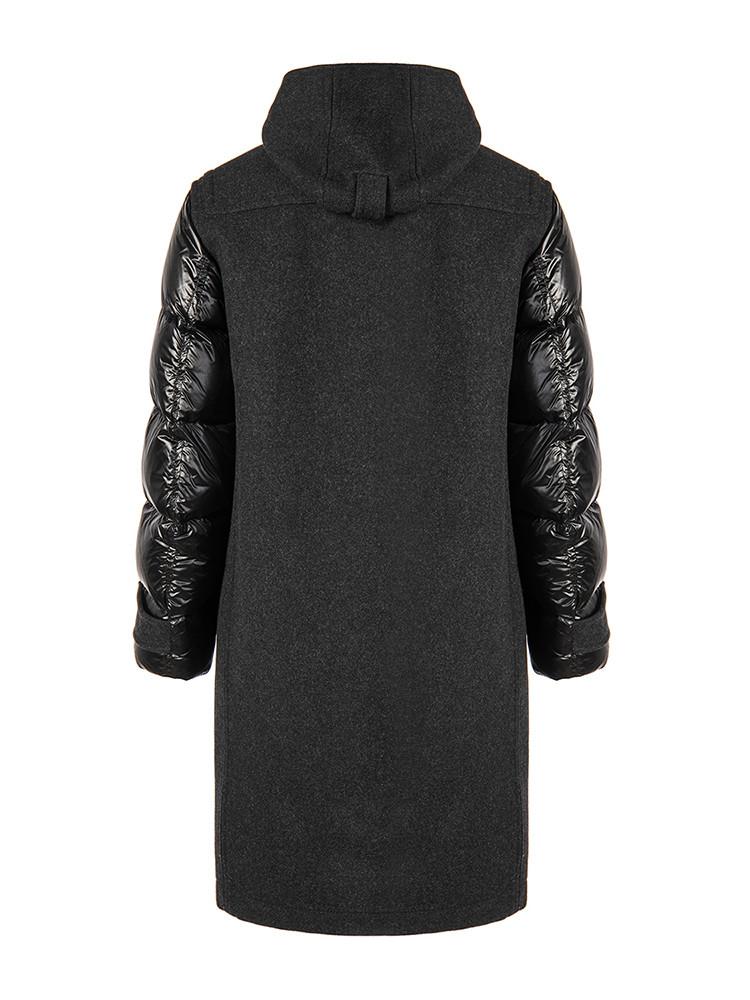 BURBERRY/博柏利大衣灰色黑方面羽绒袖拼v大衣男士创意的平面设计图片