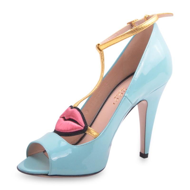 GUCCI/古驰 女士牛皮红唇一字带鱼嘴高跟凉鞋431027