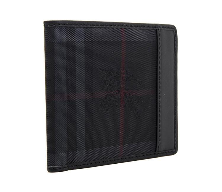 burberry/博柏利 男士炭灰色织物/配皮格纹证件卡钱夹 3945512