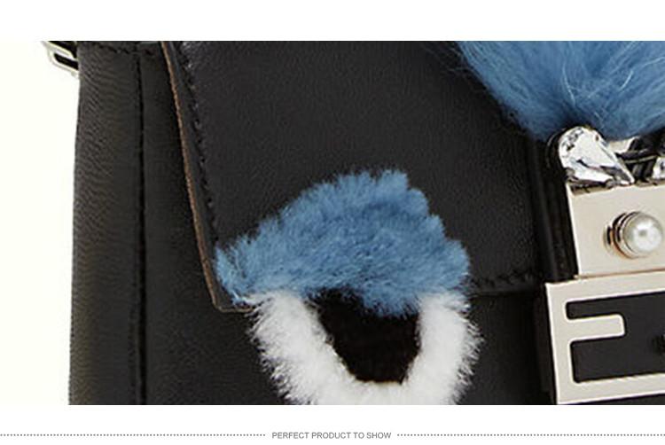 fendi/芬迪 女士黑色牛皮小怪兽小号单肩斜挎包 8m0354 3zq f033t-003