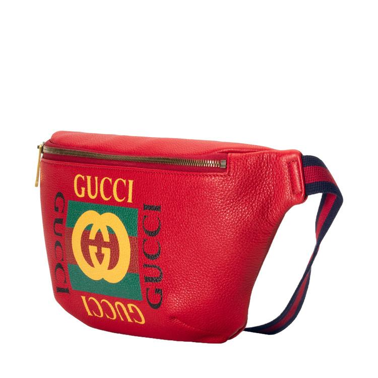 gucci/古驰 gucci标识印花牛皮男士腰包/斜挎包图片