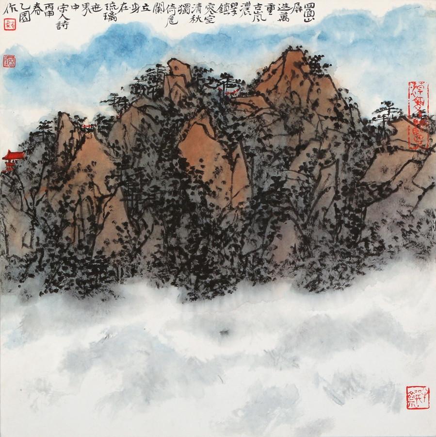 广州美术学院/梁腾/《山屏》/33x33cm/新笔画小学生简教程水墨图片