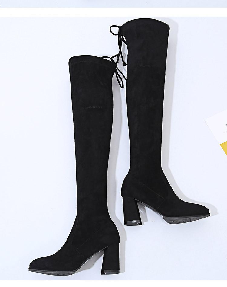zara代工厂 长筒靴女过膝长靴显瘦弹力靴坡跟高筒靴子ysh-80855