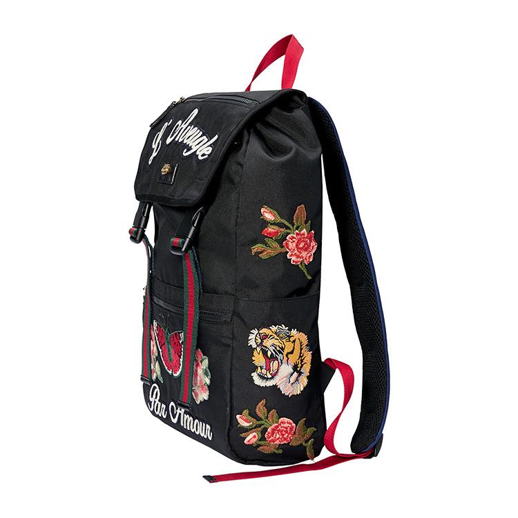 古驰 the cruise系列花卉刺绣设计虎头标点缀黑色尼龙男士双肩包#450图片