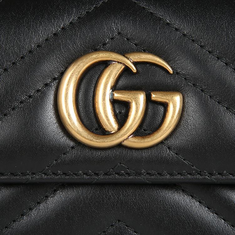 gucci/古馳ggmarmont金屬logo絎縫女士牛皮短款錢包474802drw1t圖片