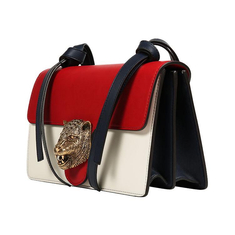 gucci/古驰 16年秋冬新品 简约白色拼红色虎头牛皮包袋 女士单肩包 41图片
