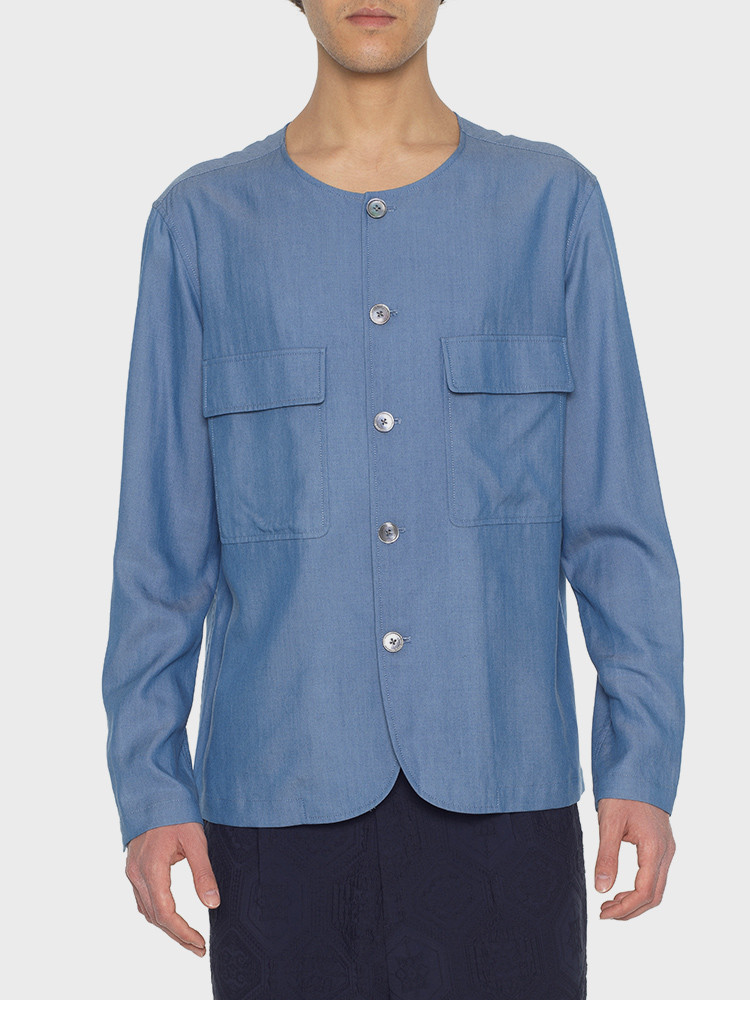 男士长袖衬衫 arcatelier17ss浅蓝天丝牛仔简约圆领宽松衬衣