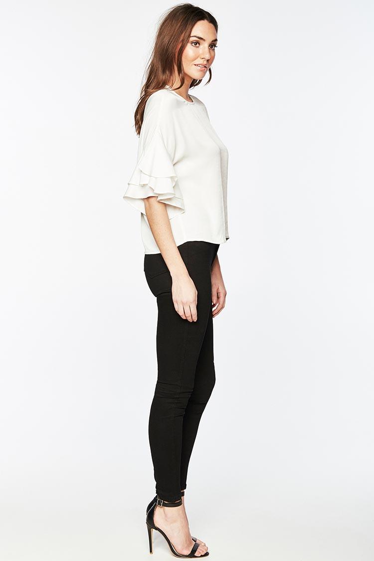 bardot/芭杜荷叶边袖子女士短袖t恤
