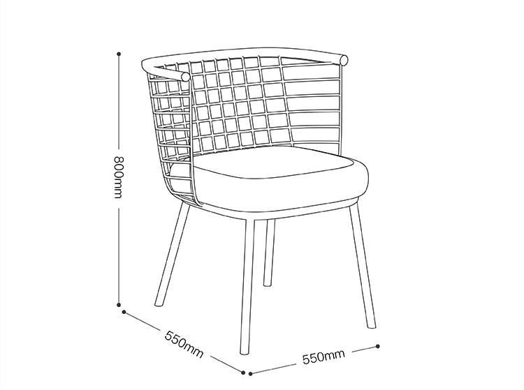 inyard/inyard方圆椅/北欧网格椅户外/室内多功能带软包会议金属椅图片
