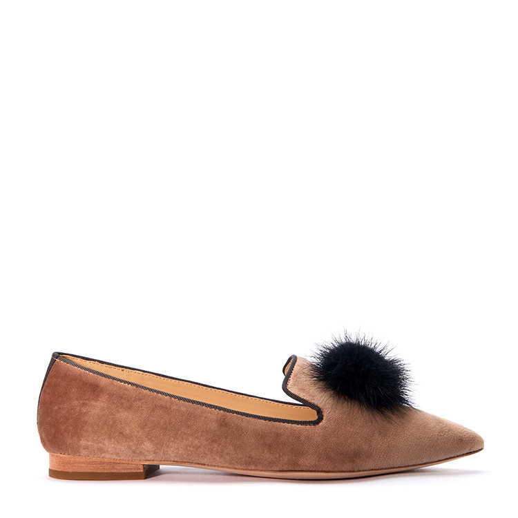 bingxu/bingxu裸色棉质丝绒女士毛球尖头平跟鞋14852-1b
