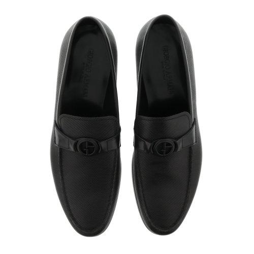 Giorgio Armani 乔治阿玛尼 黑色男士牛皮logo装饰商务休闲鞋 43图片