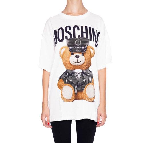 字母与骷髅图案印花女士纯棉短袖t恤,版型宽松,独特造型彰显时尚