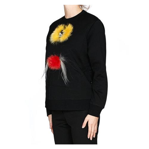 fendi/芬迪 女士 纯棉 毛皮 动物造型装饰 卫衣 br