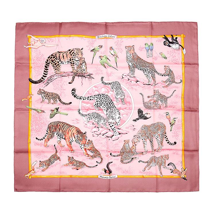 hermes(爱马仕) 粉色底花豹动物图案丝巾90图片