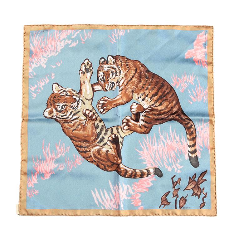 hermes(爱马仕) 棕色边框老虎图案丝巾40