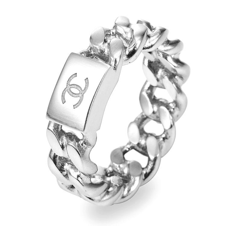 chanel(香奈儿) 银色金属编织戒指 52