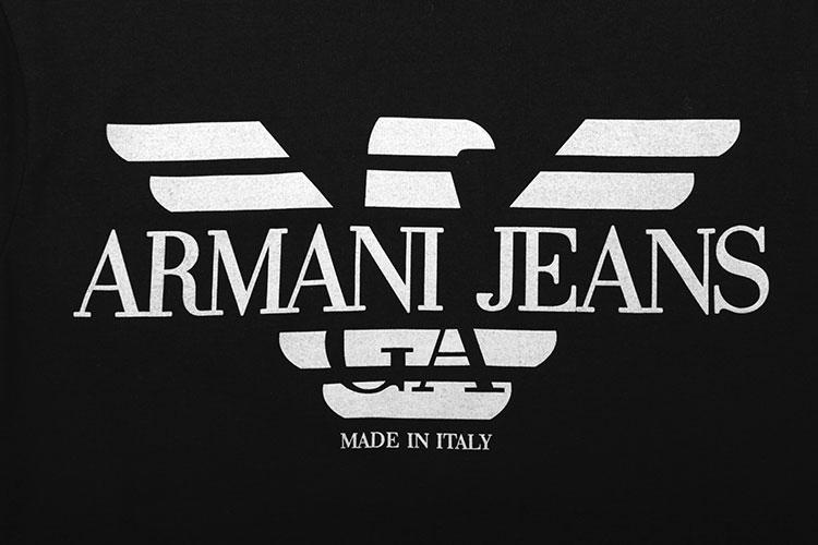 armani jeans(阿玛尼牛仔) #黑色纯棉logo图案男士短袖t恤s