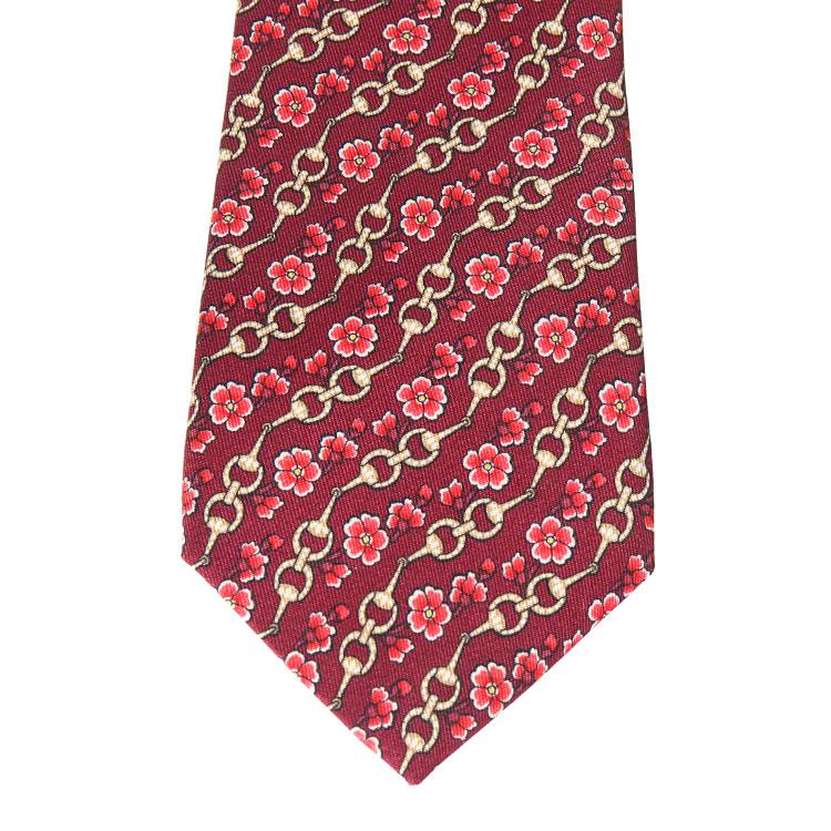 gucci(古驰)红色斜条花纹男士领带