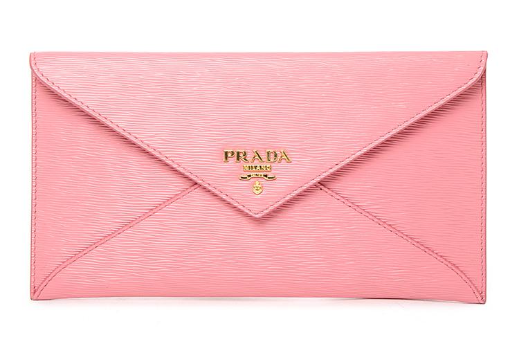 prada(普拉达) 粉色水木纹皮质信封包
