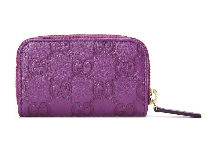 紫色皮质拉链零钱包