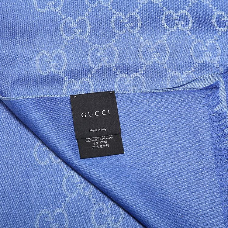 GUCCI 古驰 蓝色LOGO 羊毛 丝围巾