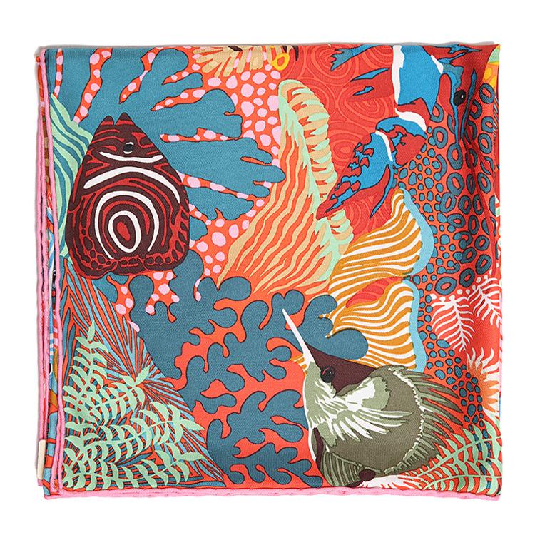 hermes(爱马仕) 橘红色动物图案丝巾90图片