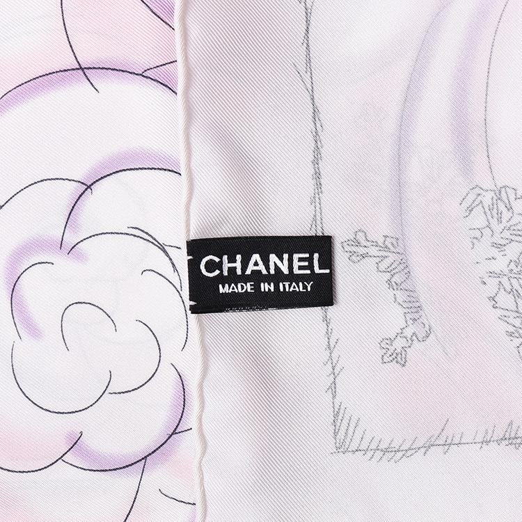 chanel(香奈儿) 白色印花丝巾 90