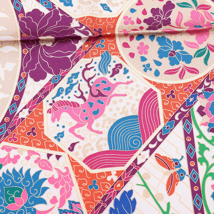 hermes(爱马仕) #粉色花纹图案女士丝巾 90cm