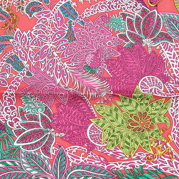 hermes(爱马仕) #深红色动物图案印花丝巾图片