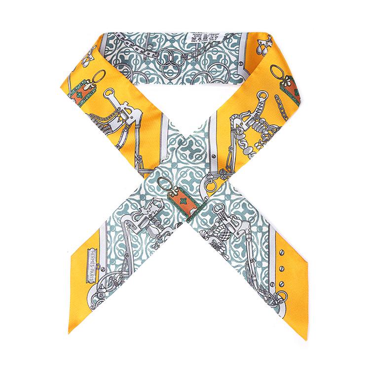 hermes(爱马仕) 橘色链条图案印花箱包丝巾