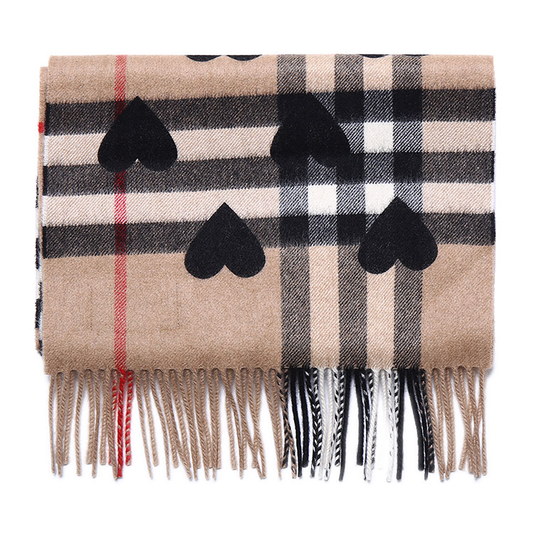 burberry(博柏利) 黑色心形图案经典格纹羊绒围巾168 x 30cm图片