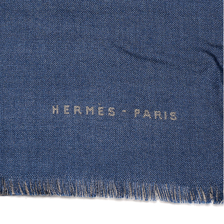 hermes(爱马仕) 深蓝色小马图案羊绒围巾