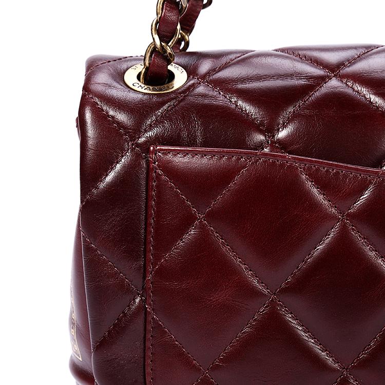 chanel(香奈儿) 酒红色皮质金色印花单肩包