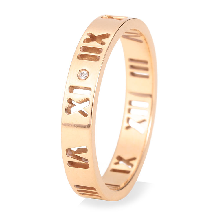 tiffany & co.(蒂芙尼) #18k金罗马数字镶钻戒指 55.5