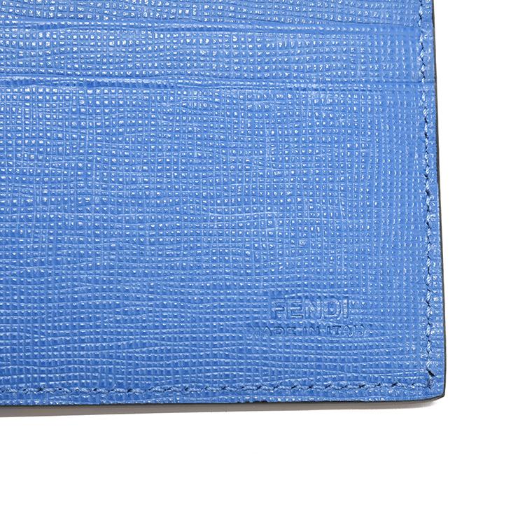 fendi(芬迪) 蓝色迷彩图案皮质白眼睛小怪兽短款两折