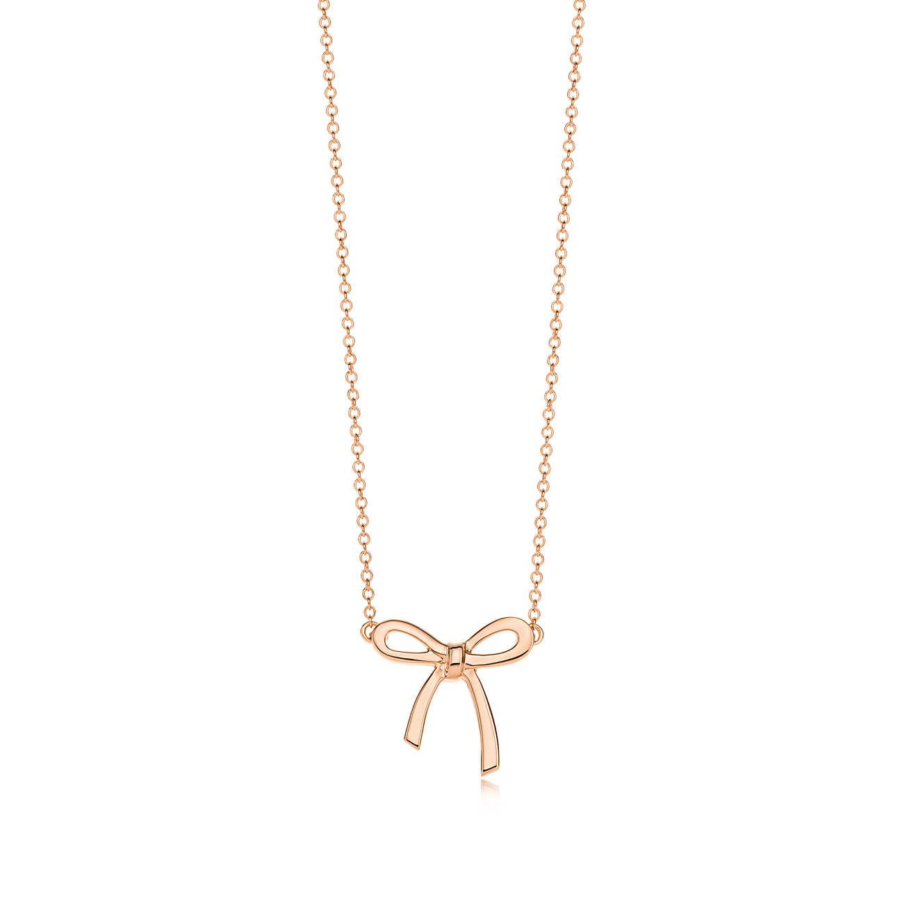 Tiffany Co.18K玫瑰金蝴蝶结吊坠项链 33833806