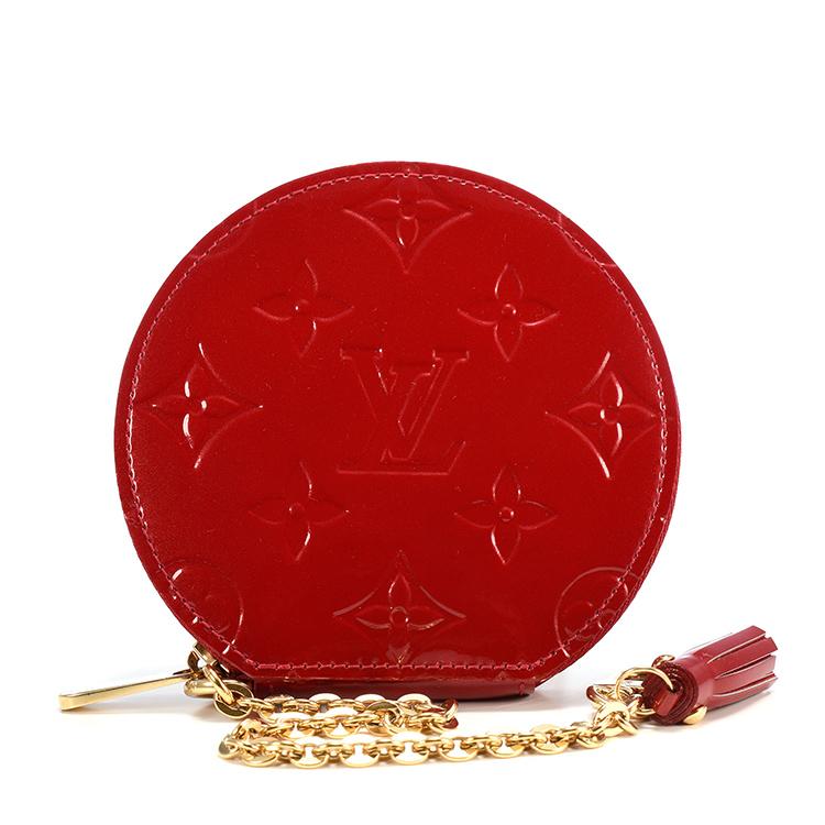 红色漆皮圆形拉链零钱包