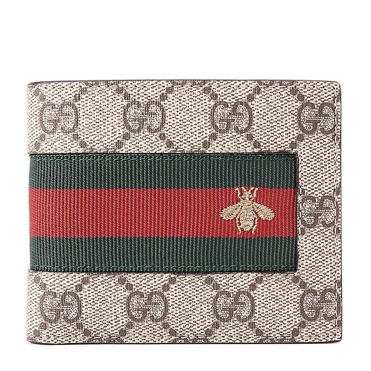 gucci(古驰) 卡其色pvc材质小蜜蜂红绿条短款钱夹
