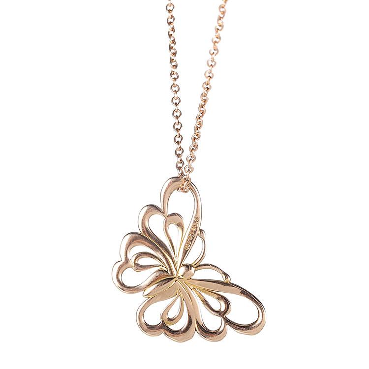 Tiffany Co. 蒂芙尼 18k玫瑰金蝴蝶项链